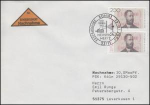 1710 Heinrich Hertz, MeF NN-FDC ESSt Bonn 100. Todestag 13.1.1994 mit E-Schein