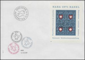 Schweiz Block Ausstellung NABA 1971, FDC ESSt Bern 11.3.1971