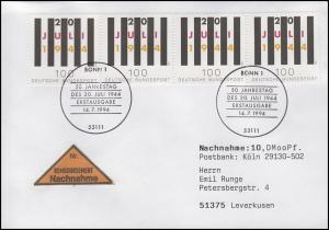1741 Attentat 20. Juli 1994, 4x aus Bl.29 MeF auf NN-FDC Bonn Jahrestag 14.7.94