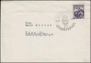 Weihnachten Christkindl Brief seltener SSt Christi Geburt 21.12.1955 nach Wien