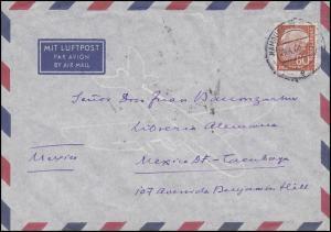 264 Heuss 80 Pf. EF auf Luftpost-Brief Hamburg-Flughafen 29.4.60 nach Mexiko