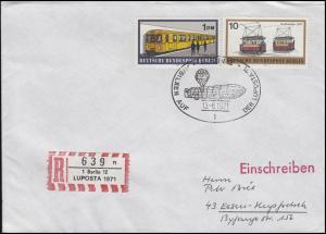 Sonder-R-Zettel LUPOSTA 1971, R-Bf. SSt Berlin LUPOSTA Zeppelin 13.6.1971