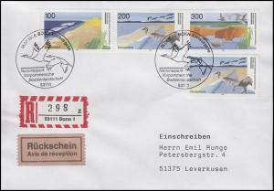 1871-1873 Boddenlandschaft - Zusammendruck, R-Rückschein-FDC ESSt Bonn 18.7.1996