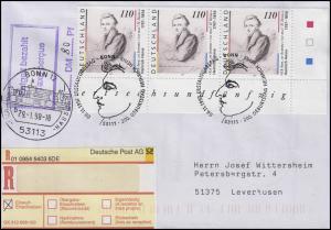 1962 Heine - Eckblock u.r. ohne Rune, R-FDC Zweitauflage ESSt Bonn 6.11.1997