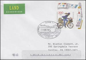1914 Tag der Briefmarke Postzustellerin EF USA-Brief SSt Bonn Landkarte 7.9.1995