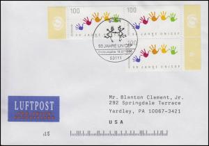 1869 UNO-Kinderhilfswerk UNICEF, MeF FDC Bonn 18.7.1996 in die USA