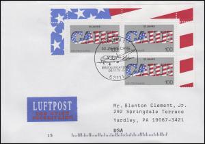 1829 Hilfsorganisation CARE, MeF Lp.-FDC ESSt Bonn Flugzeug 9.11.1995 in die USA