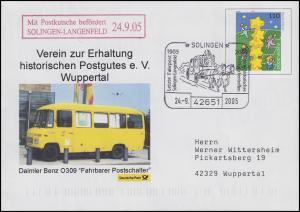 Postkutschenpost: USo 19 Europa & Fahrbarer Postschalter, SSt Solingen 24.9.2005