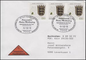 1586 Baden-Württemberg, MeF NN-FDC ESSt Stuttgart Markenpräsentation 9.2.1992