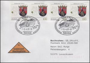 1664 Rheinland-Pfalz, MeF NN-Brief SSt Koblenz Wappen Rheinland-Pfalz 5.4.1997