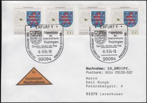 1716 Thüringen, MeF Nachnahme-FDC ESSt Erfurt Markenpräsentation Wappen 8.9.1994