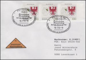 1589 Brandenburg, MeF NN-FDC ESSt Bonn Wappen der Länder 16.7.1992