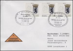 1588 Berlin, MeF NN-FDC ESSt Berlin Wappen der Länder & Präsentation 11.6.1992
