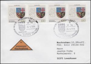 1712 Saarland, MeF NN-Brief SSt Merchweiler Saarstatus & Wappen 24.4.1994