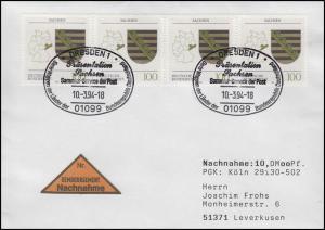 1713 Sachsen, MeF NN-FDC ESSt Dresden Markenpräsentation & Wappen 10.3.1994