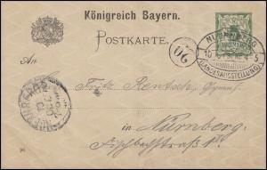 Postkarte P 48/02 Ziffer 5 Pf, Orts-PK SSt Nürnberg - Landesausstellung 10.10.96