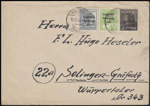 182+185+186 SBZ-Aufdruck 2+10+12 Pf, Bf. Holzhausen/Sachsen 13.8.48 n. Solingen