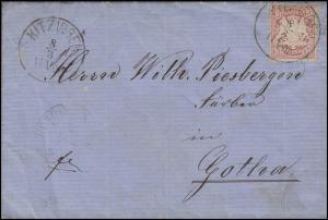 Bayern 39 Wappen 10 Pf. Brief Rechnung Kitzlingen 8.3.76 nach Gotha 9.3.76