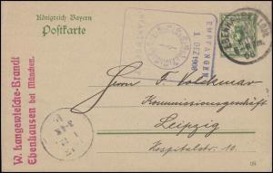 Postkarte P 79/02 Ziffer 5 Pf DV 08 Ebenhausen i Obb 30.11.08 nach Leipzig 1.12.