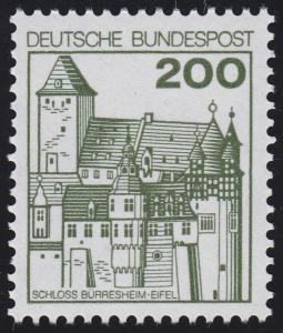 920 Burgen und Schlösser 200 Pf Bürresheim, NEUE Fluoreszenz, postfrisch **