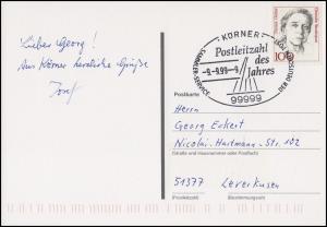 Ansichtskarte Post - Rolf , EF SSt Postleizahl des Jahres 99999 Körner 9.9.99-9