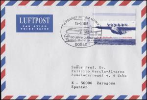 Flugpost Lufthansa LH 4410 Frankfurt-Madrid, Brief SSt Frankfurt/Main 15.5.2005