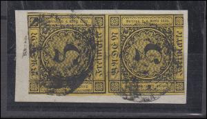 Baden 2a Ziffer 3 Kreuzer, senkrechtes Paar auf Briefstück, Stempel verwaschen