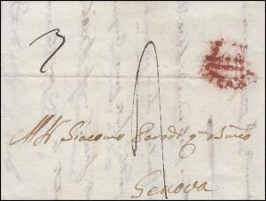 Italien Vorphilatelie Brief Milano / Mailand 1817 nach Genova / Genua