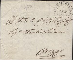 Italien Vorphilatelie Brief PIEVE S. STEFANO 5.4.1854 nach AREZZO 6.4.1854