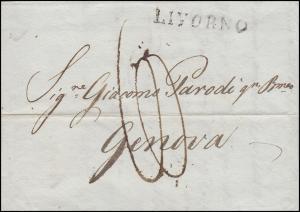 Italien Vorphilatelie Brief schwarzer Einzeiler LIVORNO 14.6.1817 nach Genua