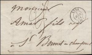 Frankreich Vorphilatelie Brief LYON 3.4.51 über GRENOBLE nach ST. BONNET 9.4.51