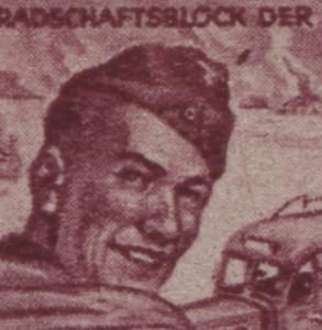 890III Feldpostbeamter 12 Pf mit PLF Punkt rechts neben der Mütze, Feld 14, **