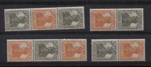 S11b-14b Germania-Marken 2 1/2 und 7 1/2 Pf aus Rollen, 4 ZD der Farbe b, Set **
