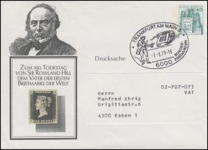 PU 110/6 BuS 40 Pf Sir Rowland Hill, SSt Frankfurt/Main Postbote Telefon 7.3.79