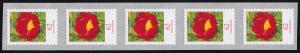 3121II Blume 62 Cent sk aus 500-Rolle 5er-Streifen, GERADE Nummer **