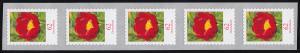 3121III Blume 62 Cent sk aus 10000er-Rolle 5er-Streifen GERADE Nummer **