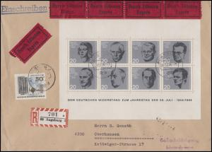 Bund Block 3 Attentat 20. Juli 1944 mit Berlin 259 Eil-R-Brief AUGSBURG 22.12.66