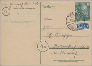 PSo 1 Bundestag 10 Pf + Notopfer Bedarfspostkarte WESTERWANNA-NIEDERELBE 2.12.49