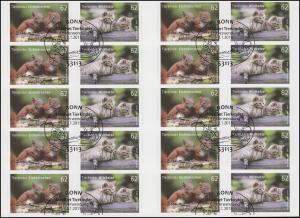 FB 44 Tierkinder Eichhörnchen und Wildkatze, Folienblatt mit 5x 3129-3130, EV-O