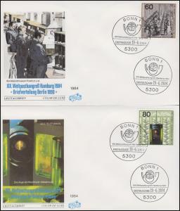 1215-1217 Weltpostkongreß, Einzelmarken aus Block 19 auf 3 FDC ESSt Bonn