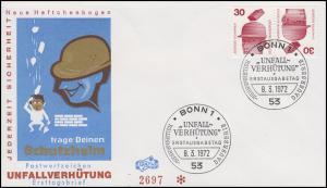 Zusammendruck Kehrdruck K 11 Unfall 30/30 Pf auf Schmuck-FDC Bonn 8.3.1972