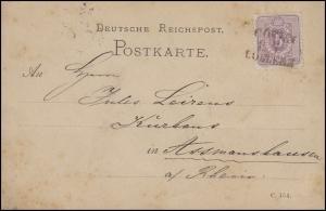 Bahnpost COELN-COBLENZ Köln-Koblenz 12.7. EF Postkarte 5 Pf nach Assmannshausen