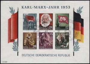 Block 8BYI Karl-Marx-Jahr 1953, gestempelt Berlin 21.11.53, geprüft Weigelt BPP