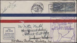 Erstflug Bordstempel CAM 27 BAY CITY - CHICACO, EF auf Brief 17.7.1928
