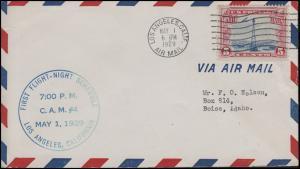 Erstflug Bordstempel Nachtflug CAM 4 LOS ANGELES 1. 5.1929, EF Bf n. Boise/Idaho