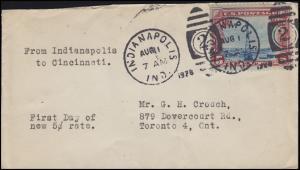 USA Flugpostmarke 5 Cent Flugzeug Leuchtturm DUP Indianopolis Nr. 2 - 1.8.1928