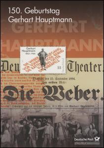 2963 Nobelpreisträger Literatur Schriftsteller Gerhart Hauptmann  - EB 7/2012