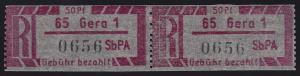 Einschreibemarke 1 Cy Z Gebührenzettel - PLZ 65-1 Gera, ** postfrisch