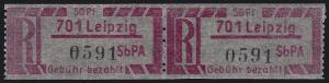 Einschreibemarke 1 Cy Z Gebührenzettel - PLZ 701 Leipzig, ** postfrisch