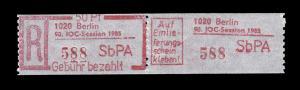 Einschreibemarke 3 Z Gebührenzettel - PLZ 1020 statt 1025 IOC-Session 1985, **